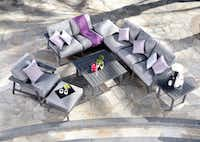Contemporary sofa/chair sets in a gray palette, like the Dakoda from Mallin Casual Furniture, offer flexibility in outdoor seating.(Mallin Casual Furniture)