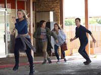From left: Natalie Alyn Lind, Percy Hynes White, Amy Acker and Stephen Moyer in Fox's <i>The Gifted</i>, which filmed in Dallas over the spring but will go elsewhere come July.(Ryan Green/Fox)