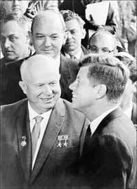 President John F. Kennedy met with Soviet leader Nikita Khrushchev after a meeting at the US embassy in Vienna in 1961. (File Photo 1961/AFP/Getty Images)