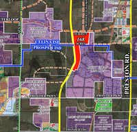The development site, shown in red, is on the route of the Dallas North Tollway.(<p></p><p>Rex Real Estate</p><p></p>)