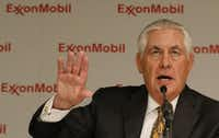 Then ExxonMobil Chairman and CEO Rex Tillerson answered questions during a news conference after the 2016 annual shareholder meeting at Morton H. Meyerson Symphony Center. He has since retired from the company was appointed Secretary of State by President Donald Trump.(Jae S. Lee/Staff Photographer)