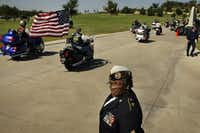 A decade ago, Cynthia Burks of Grand Prairie, a disabled Army veteran, watched Patriot Guard riders make their way to a military funeral for Lt. Col. Charles Stratton at Dallas-Fort Worth National Cemetery. Burks died in 2013.(Staff/2007 File Photo)