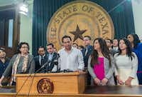 <p>Texas House Rep. Poncho Nevárez speaks about the altercation on the House floor during the last day of the session at the state Capitol in Austin. A raucous end to a divisive session erupted when a large protest over a sanctuary cities crackdown provoked a heated scuffle between lawmakers on the House floor. </p><p></p>(Ricardo Brazziell/Austin American-Statesman)