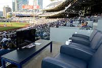 The Rangers survey asks if fans might be amenable to theater-style seating in some premium areas of the park, like these offered in Petco Park in San Diego.(<p>sandiego.padres.mlb.com</p>)