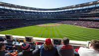 Target Field's loge seats were used as an example in a Rangers survey of season-ticket holders' seating preferences.(mlb.com/twins)