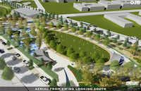 A rendering shows a conceptual plan for the Southern Gateway Public Green, a deck park over I-35E from South Marsalis Avenue to South Ewing Avenue, adjacent to the Dallas Zoo.(City of Dallas)