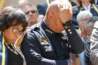 Dallas Police Chief David Brown pauses during a citywide prayer service in downtown Dallas on  July 8, 2016, following the shootings during a peaceful protest on July 7. (David Woo/Staff Photographer)