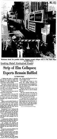 The great Elm Street cave-in of 1967 made headlines in Dallas.(DMN archives)