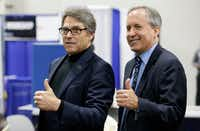 U.S. Secretary of Energy Rick Perry (left) had pushed Trump to renegotiate the Paris deal, rather than withdraw. Texas Attorney General Ken Paxton has been a major opponent of Obama-ear climate policies.(LM Otero/The Associated Press)