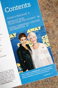 A playbill with a photo of Jenn Colella, (left) who plays Captain Beverley Bass in 'Come From Away,' at Bass' home in Argyle, Texas on May 24, 2017. (Nathan Hunsinger/Staff Photographer)