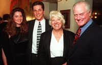 Jeannie Biernat and former Palm manager Al Biernat with Maj and Larry Hagman  at 1997 Palm Night benefiting the Family Place.(Joe Laird/The Dallas Morning News)