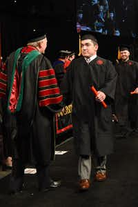 Ryan Dant receives his diploma at the University of Louisville graduation ceremony on May 13, 2017.(University of Louisville)