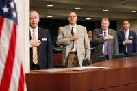 "<p><span style=""font-size: 1em; background-color: transparent;""></span></p><p>From left: Farmers Branch council member Terry Lynne, former council member Harold Froehlich, Mayor Bob Phelps and City Manager Charles Cox stood during the Pledge of Allegiance before the start of a Farmers Branch City Council meeting last August. </p>(Ben Torres/Special Contributor)"