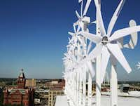 El Centro College in downtown Dallas has installed 80 wind turbines on its roof.(David Woo/Staff Photographer)