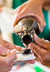 Balsamic vinegar has been aged at least 12 years in wooden barrels and pours like thick syrup.(Michael Hiller/Special Contributor)