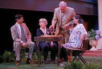 "From left: Ivan Jasso (as Pablo Del Valle), Lois Sonnier Hart (as Virginia Butley), John S. Davies (as Frank Butley) and Stephanie Cleghorn Jasso (as Tania Del Valle) in ""Native Gardens"" at WaterTower Theatre at Addison Theatre Centre.(Jae S. Lee/Staff Photographer)"