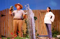 "John S. Davies (as Frank Butley) and Stephanie Cleghorn Jasso (as Tania Del Valle) argue about what to grow in their backyards in ""Native Gardens"" at WaterTower Theatre at Addison Theatre Centre in Addison.(Jae S. Lee/Staff Photographer)"