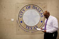 Dallas city manager T.C. Broadnax returns to his office in Dallas City Hall on Feb. 1.(Andy Jacobsohn/Staff Photographer)