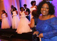 Sorority sisters of Zeta Phi Beta hold the Miss Blue Revue scholarship gala at the Doubletree Inn in Farmers Branch.  The event awarded scholarships to high school students. (Louis DeLuca/Staff Photographer)