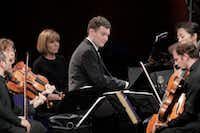 """Pianist Yury Favorin performs with the Brentano String Quartet in the Final Round of the Van Cliburn International Piano Competition.(<p><span style=""""font-size: 1em; background-color: transparent;"""">Ralph Lauer</span></p>/<p><span style=""""font-size: 1em; background-color: transparent;"""">Van Cliburn Foundation</span><br></p><p></p>)"""
