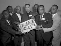 <p>A. Maceo Smith (third from left), an Alpha Phi Alpha member, played a large role in the civil rights movement. Pictured from left with him are Walter R. McMillan, Roosevelt Johnson, Pancho Medrano, Harold E. Holly, the Rev. G.T. Thomas, and R.R. Revis, all of whom fought against the poll tax in 1963.</p>(<p>Collections of the Texas/Dallas History and Archives Division, Dallas Public Library</p>)