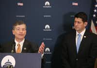 House Financial Services Committee Chairman Jeb Hensarling, R-Dallas, speaks to the media while flanked by Speaker of the House Paul Ryan earlier this week.(Mark Wilson/Getty Images)