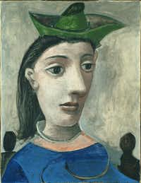 Pablo Picasso 'Woman with Green Hat,' 1939 Oil on canvas. Gift of the Carey Walker Foundation, 1994. The Phillips Collection, Washington, D.C. © 2017 Estate of Pablo Picasso / Artists Rights Society (ARS), New York(The Kimbell Art Museum)
