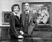 Marjorie and Duncan Phillips in 1954 at the Phillips Collection, the United States' first museum of modern art. Duncan Phillips at first found some modern art 'stupefying in its vulgarity,' but he always loved French impressionist Renoir.(The Dallas Morning News Archives/Paul Richard/The Washington Post)