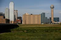 The Jesse R. Dawson State Jail (center), in the Texas Department of Criminal Justice system, seen from across the Trinity River in downtown Dallas in 2016.(Andy Jacobsohn/Staff Photographer)