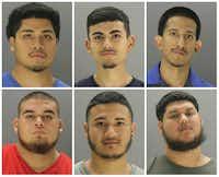 Top row, from left: Steven Hernandez, Christopher Lopez, David Lopez.<br>Bottom row, from left: Christian Torres, Herbert Umanzor, Rafael Cardenas.(Dallas Police Department)