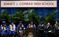 Conrad High valedictorian Eleni T-Giorgs addresses the crowd at graduation.((Jae S. Lee/The Dallas Morning News))
