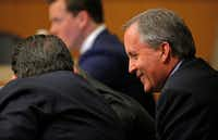 In this Feb. 16 file photo, Texas Attorney General Ken Paxton smiles during his pretrial hearing at Collin County Courthouse in McKinney.(Jae S. Lee/Staff Photographer)