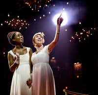 "Denee Benton, left, and Brittain Ashford during a performance of ""Natasha, Pierre & the Great Comet of 1812,"" in New York. (Chad Batka/Matt Ross Public Relations via AP)"