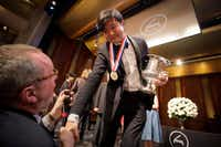 Gold medalist Yekwon Sunwoo of South Korea  is congratulated after the Van Cliburn International Piano Competition awards ceremony at the Bass Performance Hall in Fort Worth on Saturday, June 10, 2017. (Smiley N. Pool/Staff Photographer)