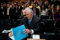 US Secretary of State Rex Tillerson looks for his opening statement before a hearing of the Senate Foreign Relations Committee on Capitol Hill June 13, 2017 in Washington, D.C.(BRENDAN SMIALOWSKI/AFP/Getty Images)