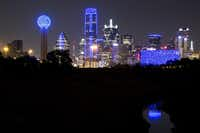 <br>(<p></p><p>The downtown Dallas skyline lights up in blue in recognition of National Police Week on Monday, May 15, 2017. (Smiley N. Pool/The Dallas Morning News)</p><p></p>)