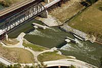 In this 2012 file photo, the Dallas Wave water feature in the Trinity River and the Santa Fe Trestle Trail is seen from above.(G.J. McCarthy/Staff Photographer)