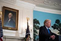 President Donald Trump makes a statement from the Diplomatic Room of the White House after House Majority Whip Steve Scalise, R-La., and four others were shot during a congressional baseball practice in Alexandria, Va.(Jabin Botsford/The Washington Post)