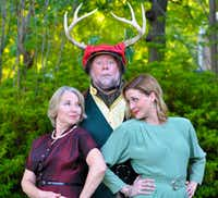 Lydia Mackay (Mistress Ford), Stephen Young (Falstaff), Constance Gold Parry (Mistress Page) perform in <i>The Merry Wives of Windsor</i>  for Shakespeare Dallas at Samuell Grand Amphitheater through July 21.(Jessica Helton)