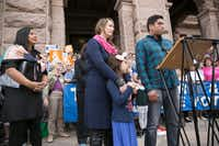 """Frank Gonzales spoke out against the Texas Legislature's proposed """"bathroom bill"""" at a news conference in March held at the state Capitol by the Transgender Education Network of Texas. With him were his transgender daughter, Libby, and his wife, Rachel.(Deborah Cannon/Austin American-Statesman)"""