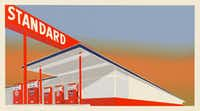 Ed Ruscha, <i>Standard Station</i>, 1966, screenprint, National Gallery of Art, Washington, Reba and Dave Williams Collection, Florian Carr Fund and Gift of the Print Research Foundation(Ed Ruscha/National Gallery of Art)