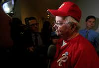 Rep. Joe Barton, R-Texas, manager of the Republican team, wearing his baseball uniform, speaks to reporters on Capitol Hill in Washington, Wednesday, June 14, 2017, about the incident where House Majority Whip Steve Scalise of La., and others, were shot during a Congressional baseball practice in Alexandria, Va. (Manuel Balce Ceneta/AP)