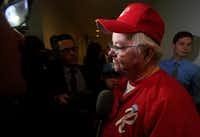 Rep. Joe Barton, R-Texas, manager of the Republican team, wearing his baseball uniform, speaks to reporters on Capitol Hill in Washington, Wednesday, June 14, 2017, about the incident where House Majority Whip Steve Scalise of La., and others, were shot during a Congressional baseball practice in Alexandria, Va.(Manuel Balce Ceneta/AP)