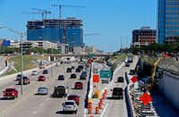Traffic passes by on Dallas North Tollway near a Legacy Drive exit in Plano on May 1, 2017. (Jae S. Lee/Staff Photographer)