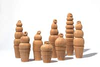 Dipped cones in carved cedar by Marfa, Texas artist Camp Bosworth(Alex Marks)