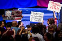 Supporters of Bernie Sanders gathered in April at a rally led by the Vermont senator at the Verizon Theater in Grand Prairie. (Smiley N. Pool/Staff Photographer)