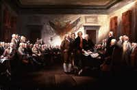 The Signing of the Declaration of Independence. Painting by John Trumbull.(The Bettmann Archive)