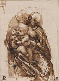 "Leonardo da Vinci's drawing ""The Virgin and Christ Child With a Cat,"" from  about 1478 81, is done in pen and brown ink over stylus underdrawing. It's part of ""Lines of Thought: Drawing from Michelangelo to Now: from the British Museum,"" on display at the New Mexico Museum of Art in Santa Fe. (New Mexico Museum of Art)"