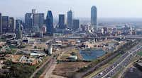 Twenty years ago Victory Park was an old rail yard, power plant and grain elevators north of downtown Dallas.(DMN files)
