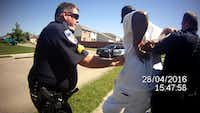 This image from a body camera video of a Balch Springs officer shows Sgt. James Young using a Taser on Marco Stephenson in 2016. Young started tasing Stephenson as Stephenson knelt on the ground with his hands on his head. Young, was investigated by the Texas Rangers but no charges were filed. Another officer who witnessed the incident asked supervisors to review the footage.(Balch Springs Police Department)